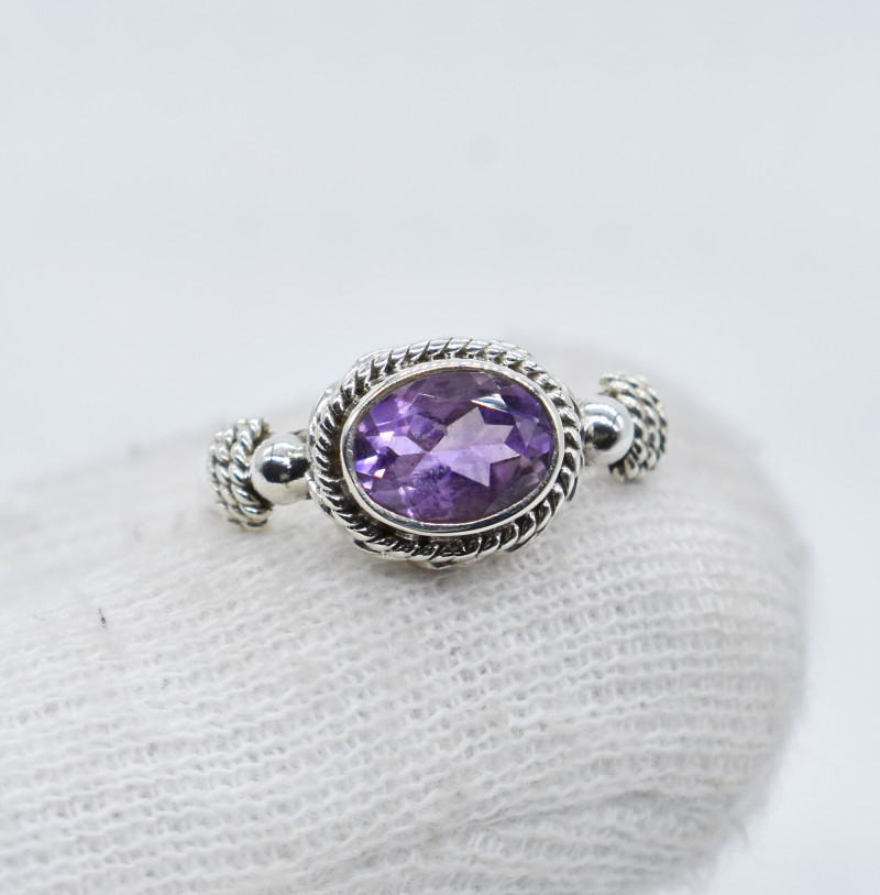 Natural Amethyst Pear Ring 925 Silver Jewelry.Free Shipping.All US SIZE