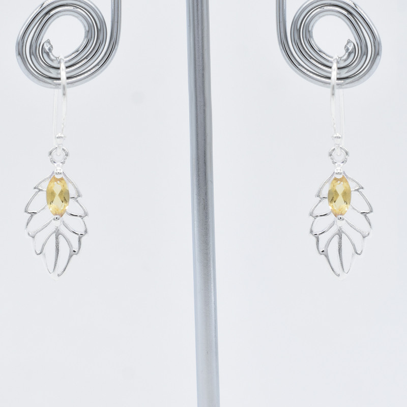 CITRINE EARRINGS 925 STERLING SILVER NATURAL GEMSTONE FREE SHIPPING JE174
