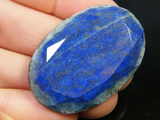 LAPIS LAZULI  OVAL FACETED STONE  43.20 CARATS  AG 1528