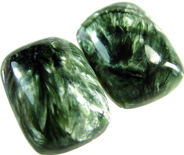 SERAPHINITE PAIR- LEAFY PATTERN 33 CTS [ST3815 ]