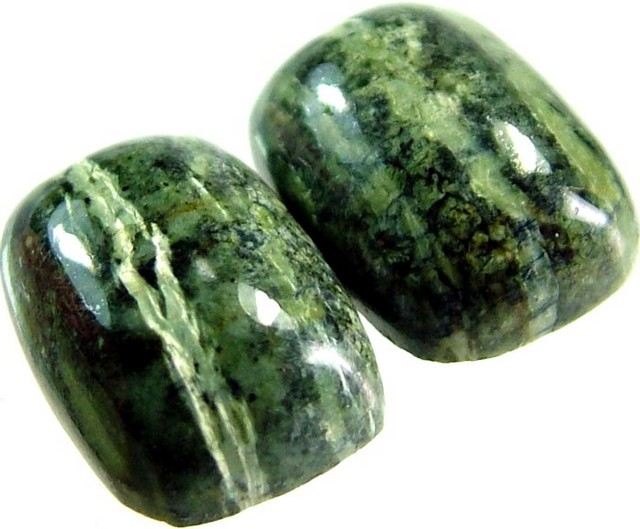 GREEN  ZEBRA JASPER PAIR-POLISHED 11.9 CTS [MX3972 ]