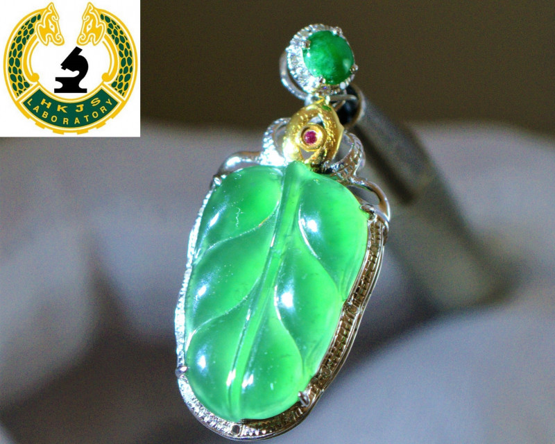 HKJSL Cert. Type A Imperial Green Jadeite Jade Carving | Icy Emerald Green