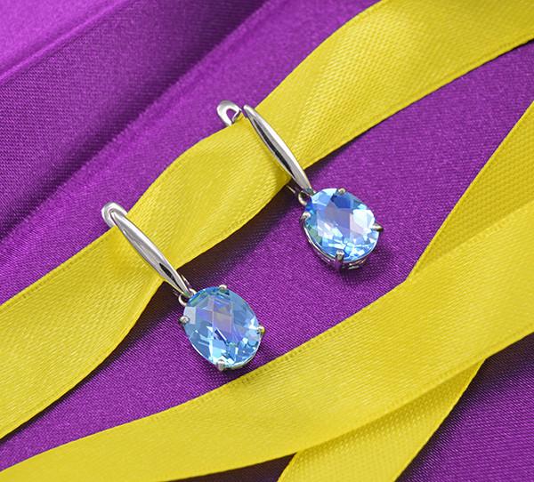 Elegant Natural Blue Topaz 925 Sterling Silver Drop Earrings (SSE0650)