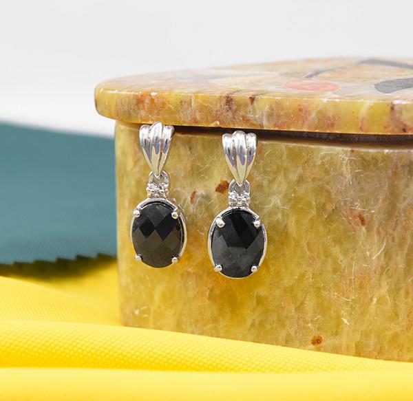 Natural Black Sapphire 925 Sterling Silver Drop Earrings (SSE0653)