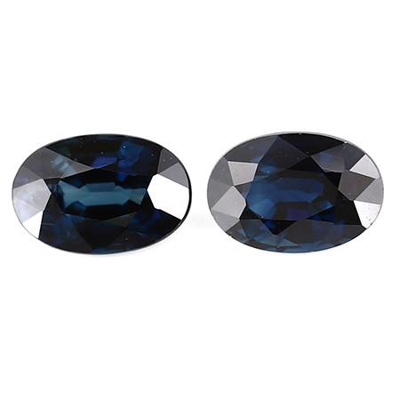 1.45 cttw Pair of Oval Blue Sapphires: Deep Darkish Blue