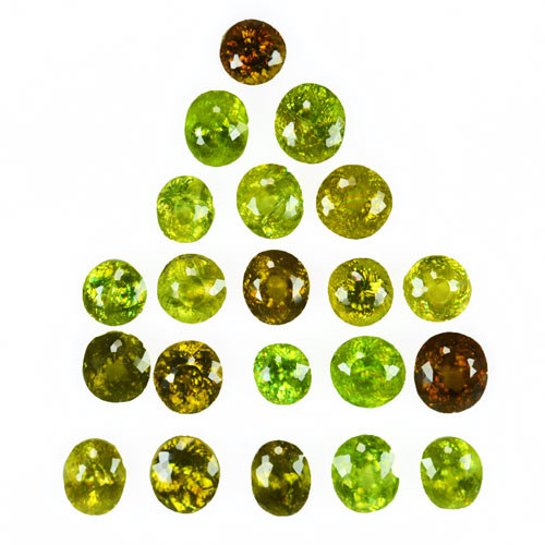 14.77 Cts Natural Olive Green Sphene 21Pcs Mixed Shapes Parcel Russia
