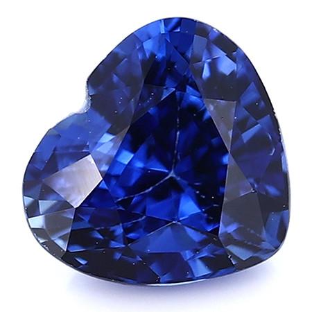 0.97 ct Heart Shape Blue Sapphire: Rich Royal Blue