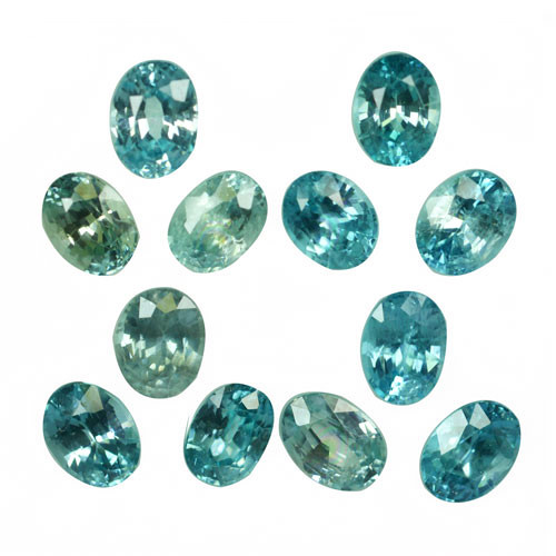 12.21 Cts Natural Silver Blue Zircon 12Pcs Oval Cut Parcel Cambodia