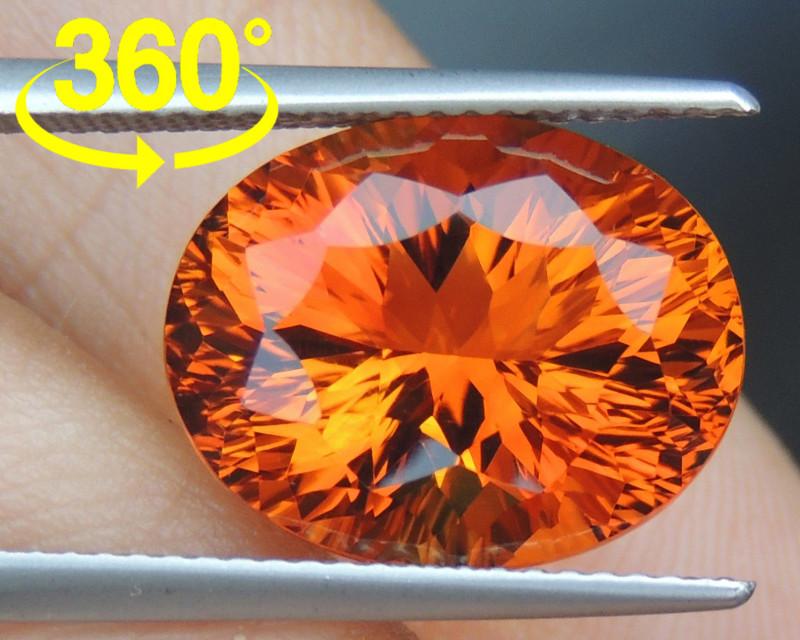 8.66cts *Crayola Orange* Citrine, Top Precision Cut
