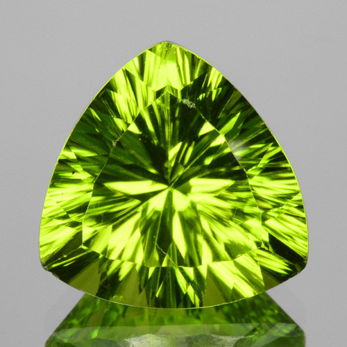 ~PREMIUM~ 3.40 Cts Natural Peridot Beautiful Green Trillion (Concave) Pakis