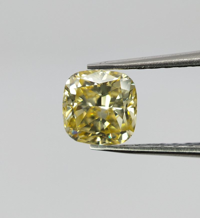 Cushion cut diamond,Yellow color diamond , 0.54 cts