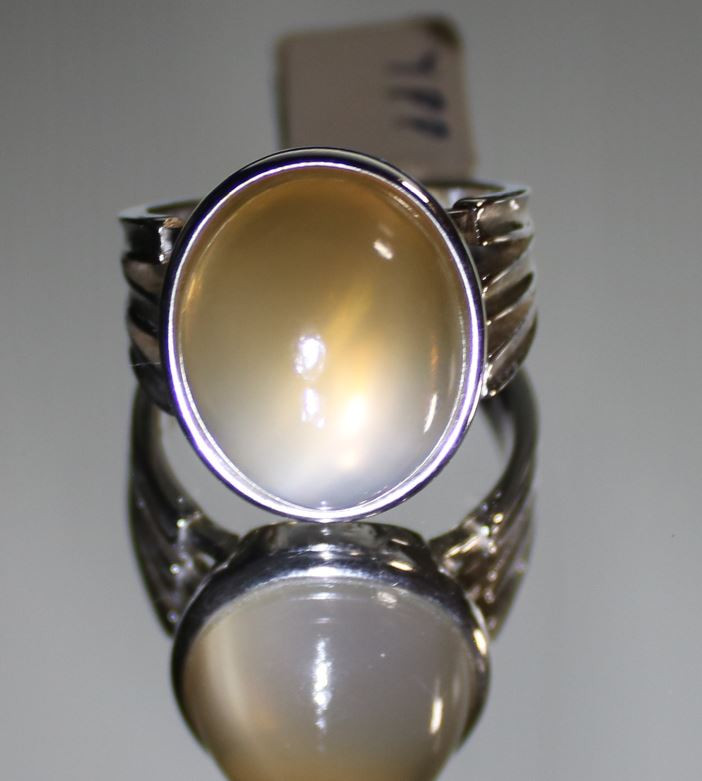 Moonstone 22.10ct Platinum Finish Solid 925 Sterling Silver Ring