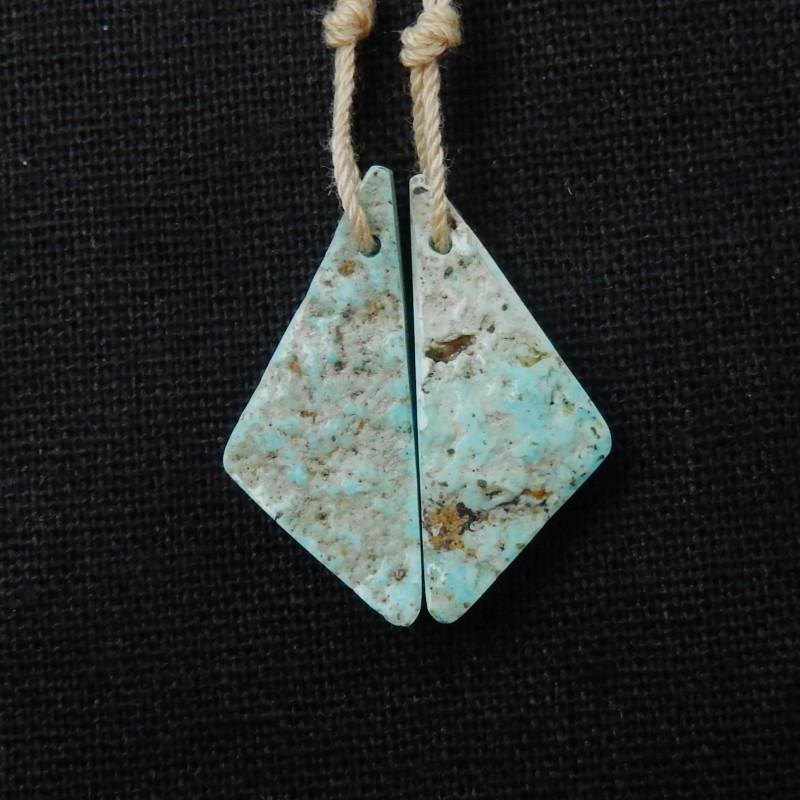 16.5cts Raw Turquoise Earrings,Handmade Gemstone ,Turquoise Earrings F355