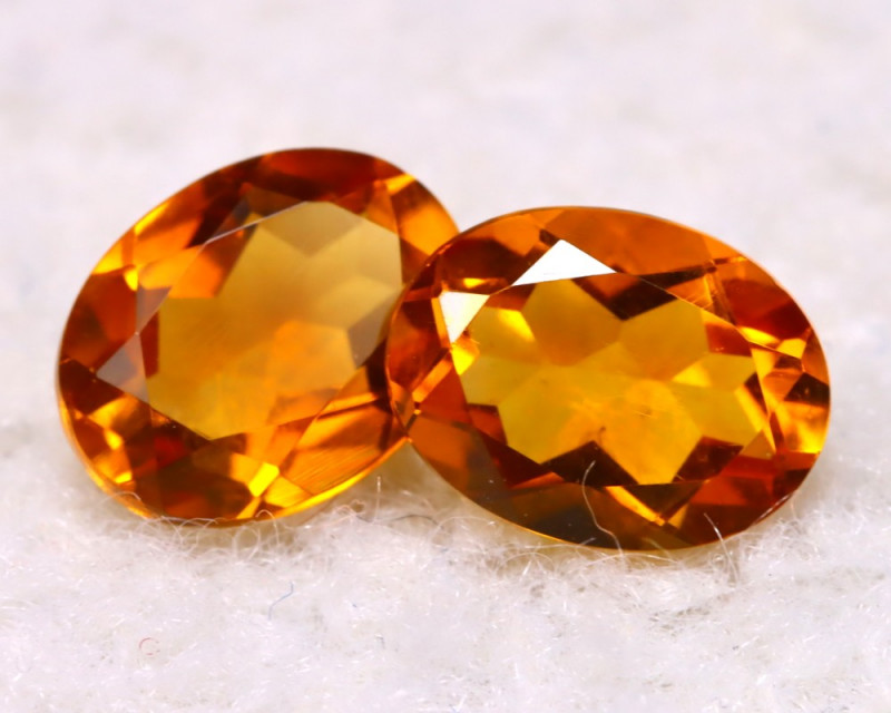 Citrine 2.11Ct 2Pcs Natural VVS Golden Yellow Color Citrine E2020