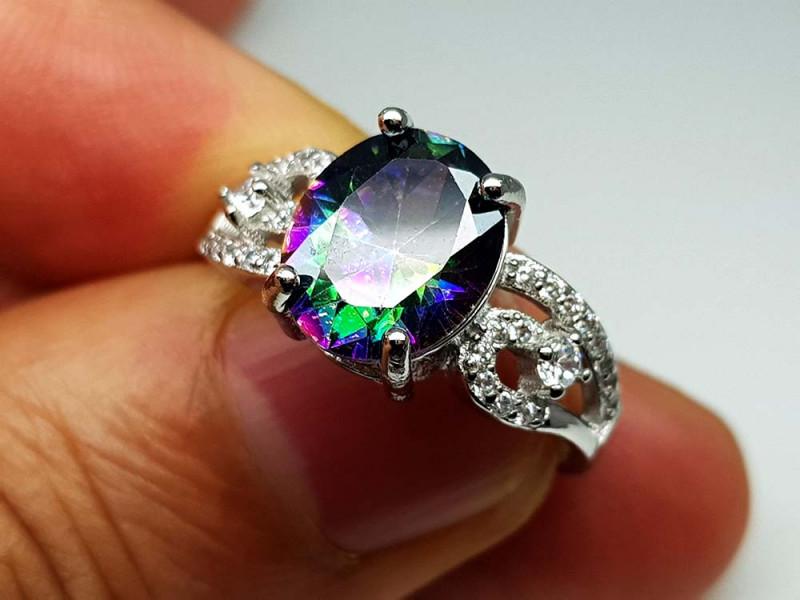 22.85Crt Mystic Quartz 925  Silver Ring