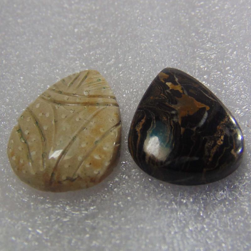 42.90 cts MIX STONES Excellent Designer Natural Stromatolite Pears
