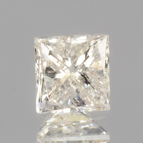 0.14 Cts Untreated Natural White Diamond Princess Cut Africa