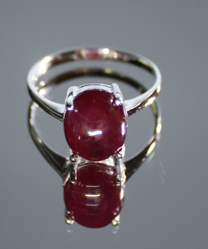 Ruby 6.90ct Platinum Finish Solid 925 Sterling Silver Solitaire Ring