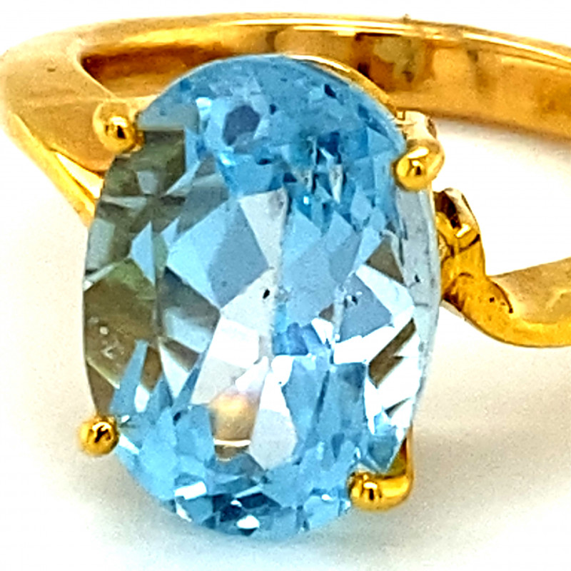 Details about  /Blue Topaz 2.09 Ct Gemstone 18k Yellow Gold Pendant for Women//Girls