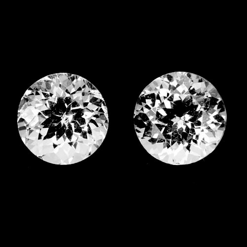 ~UNHEATED~ 3.54 Cts Natural Sparkling White Topaz 2Pcs Round Cut Brazil