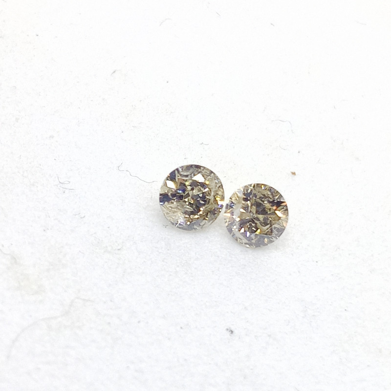 0.17ct  Faint Yellow Diamond Pair, 100% Natural Untreated