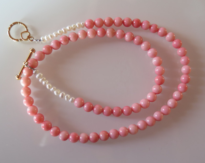 PINK CORAL PEARL GOLD FILLED NECKLACE