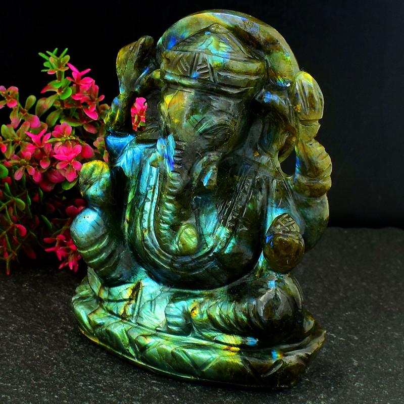 Genuine 1735.00 Cts Green & Blue Flash Labradorite Ganesha