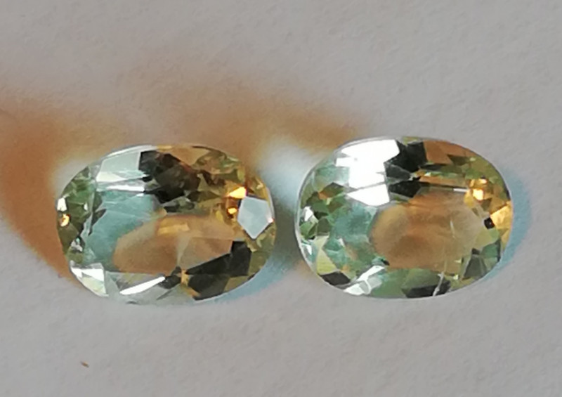 Prasiolith pair, 2.5ct, super cut, useful for earrings!