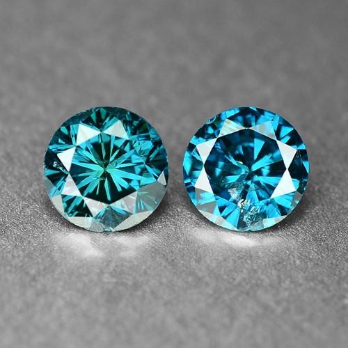 0.46 Cts 2pcs Sparkling Rare Fancy  Green Color Natural Loose Diamond