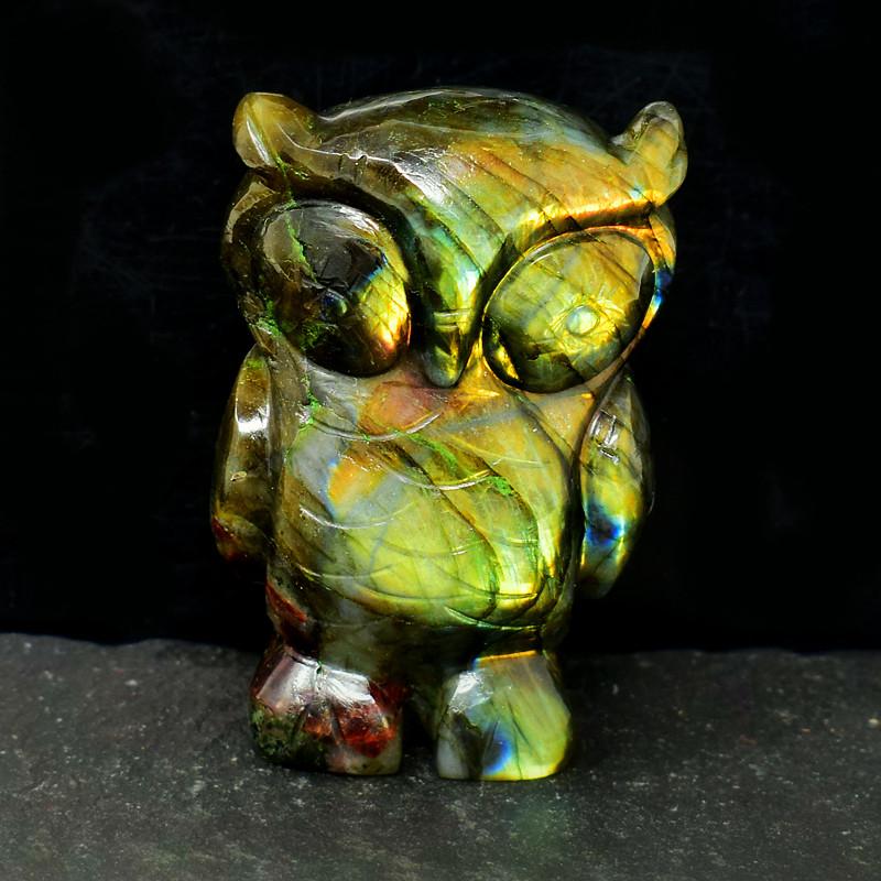 Genuine 1215.00 Cts Golden Flash Labradorite Owl