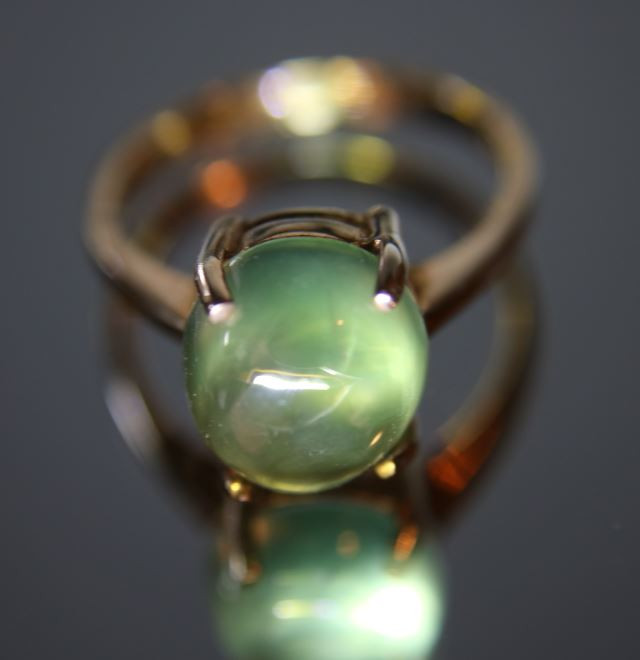 Prehnite 4.60ct Rhodium Finish Solid 925 Sterling Silver Ring Size 7.75