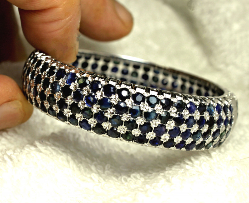 204.0 Tcw. Sterling Silver Sapphire Bracelet - Superb