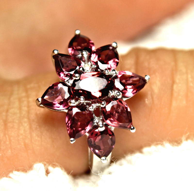 17.63 Tcw. Garnet, Sterling Silver, Gold Plated Dinner Ring - Gorgeous