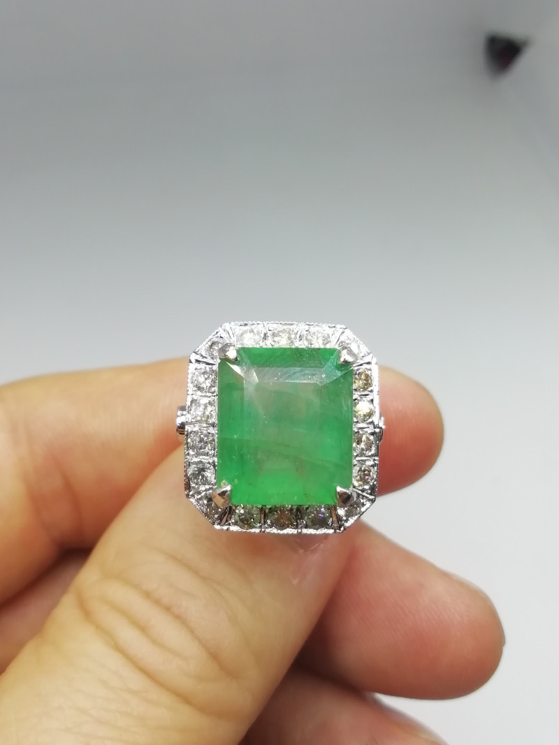 9.64ct Diamond Ring Set With Colombian Emerald , 14kt Solid White