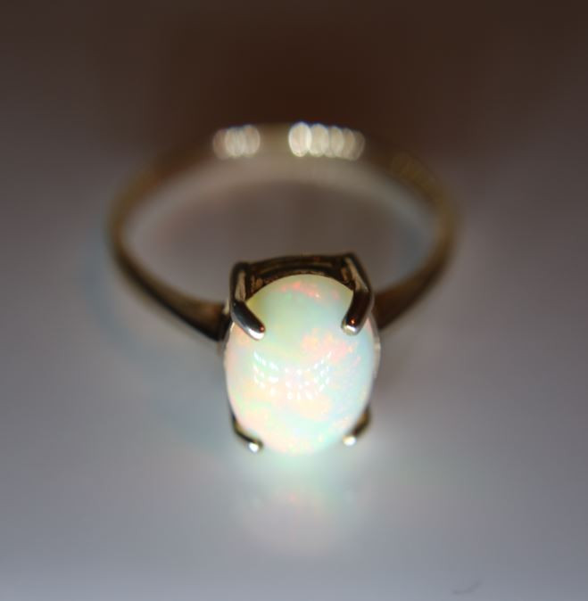 Opal 6.18ct Rhodium Finish Solid 925 Sterling Silver Ring Size 6.25