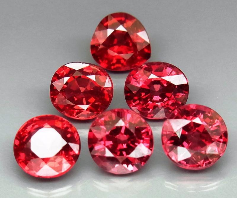 8.12  ct. Natural Red  Rhodolite Garnet Africa - 6 Pcs
