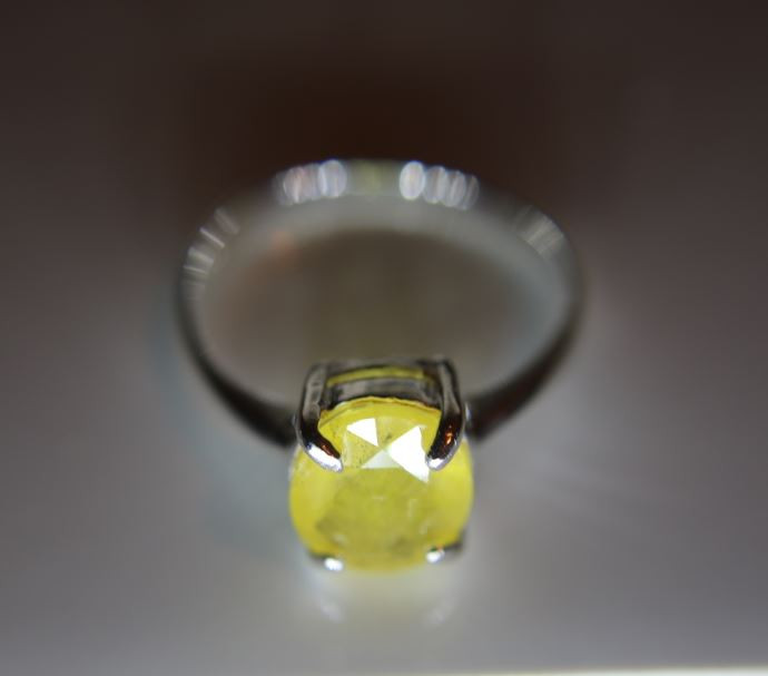 Yellow Sapphire 2.74ct Platinum Finish Solid 925 Sterling Silver Ring Size