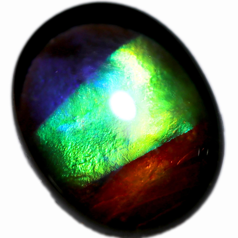 1.664 CTS  9x7 MM  AMMOLITE TRIPLET 3 COLOURS SEE VIDEO  [STS1700]