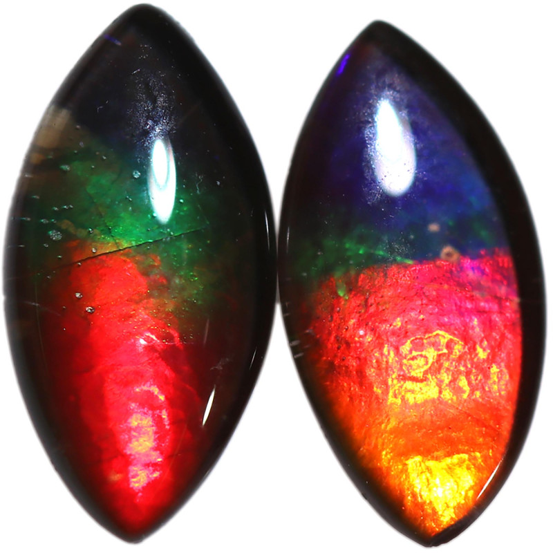 1.910 CTS  10x5 MM  AMMOLITE TRIPLET PAIR 3 COLOURS-SEE VIDEO   [STS1725]