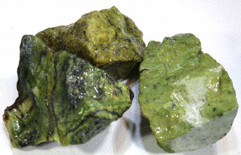 88 CTS  SERAPHINITE ROUGH (3 PCS)  ADG-284