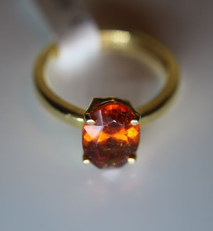 Hessonite Garnet 3.68ct Solid 18K Yellow Gold Solitaire Ring Size 7