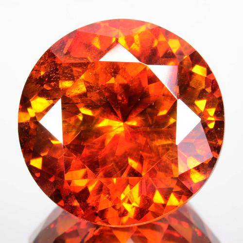 ~RAREST~ 27.72 Cts Natural Sphalerite Sunset Orange Round Cut Spain