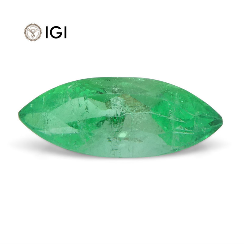 1.36 ct Marquise Emerald IGI Certified Colombian with Inscription