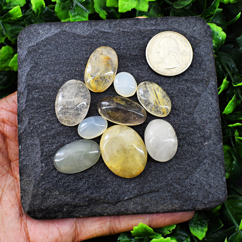 Genuine  183.0 Cts Rutile Quartz Cab Lot
