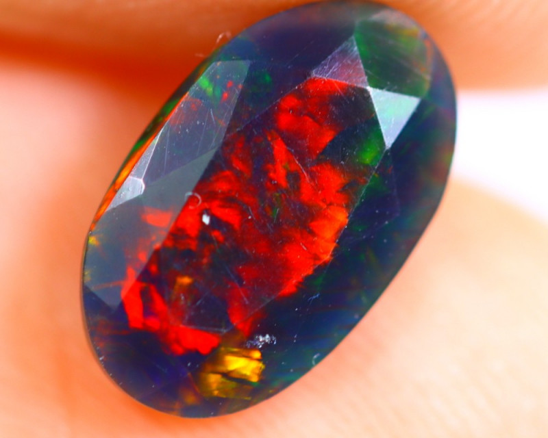 1.00cts Natural Ethiopian Smoked Faceted Black Opal / RD725
