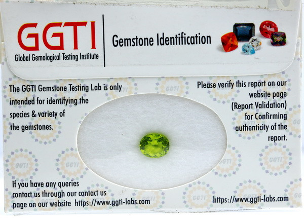 GGTI-Certified-1.92 ct Green Peridot Gemstone Natural