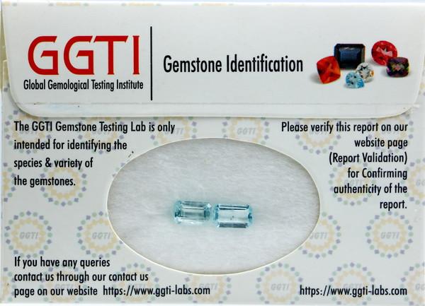 GGTI-Certified-1.85 ct Blue Aquamarine Gemstone Pair Natural