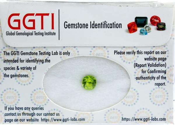 GGTI-Certified-1.46 ct Green Peridot Gemstone Natural