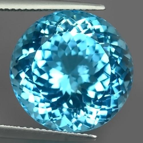 26.00 CTS SUPERIOR! ROUND 16.62 MM SWISS BLUE-TOPAZ GENUINE