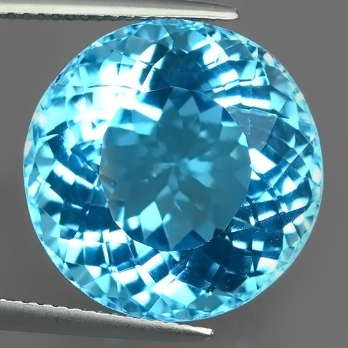 28.40 CTS DAZZLING NATURAL 17.48MM ROUND QUALITY LUSTER  SWISS BLU
